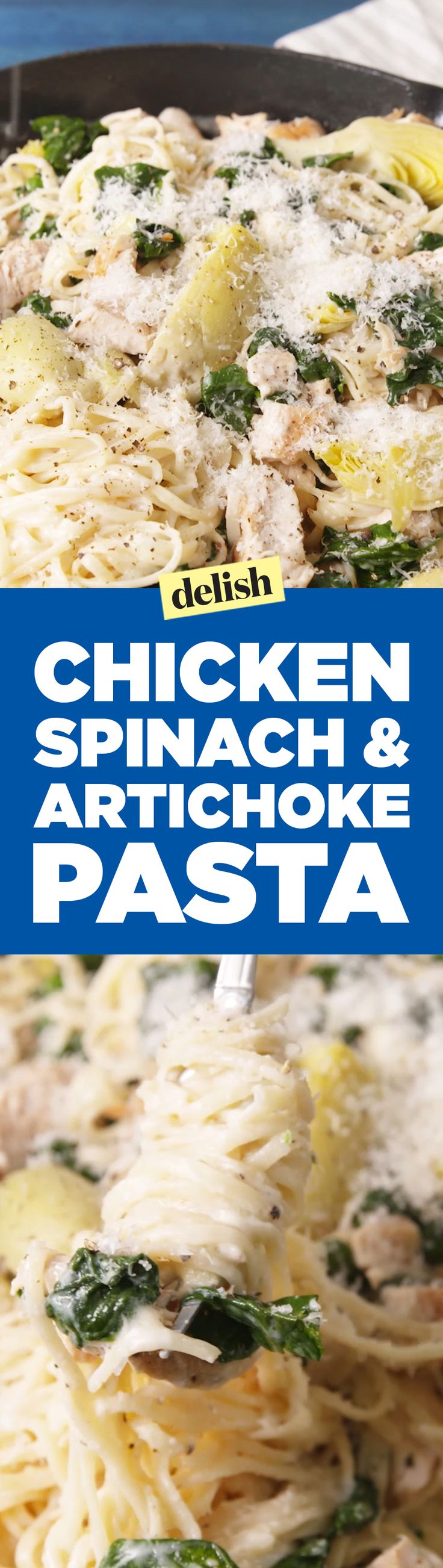 Chicken, spinach & artichoke pasta is just what you need for an amazing dinner. Get the recipe on Delish.com.