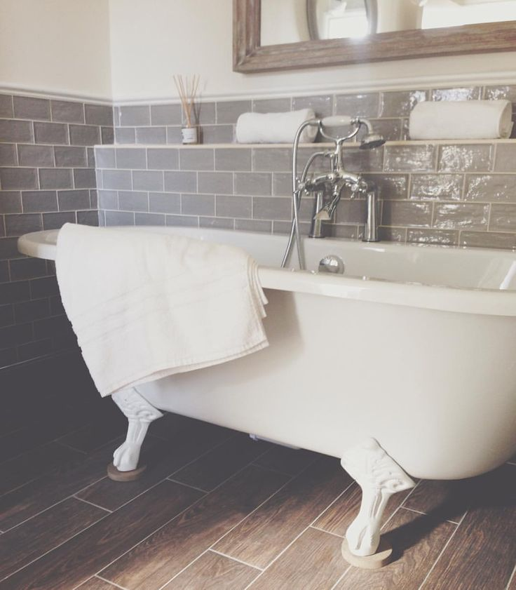 this is one of the roll top baths at the kedleston country house bathrooms