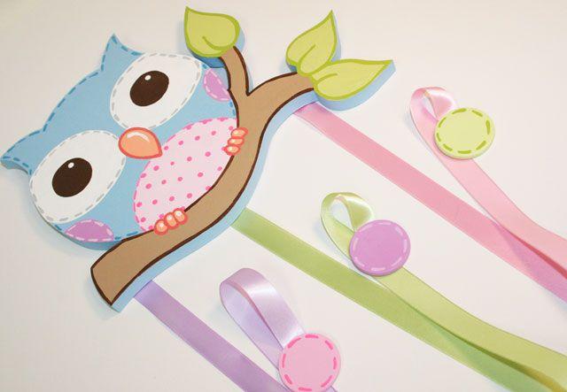 Pastel Owl Hair Bow Holder-owl decor,owl bow holder, owl art,custom bow holders