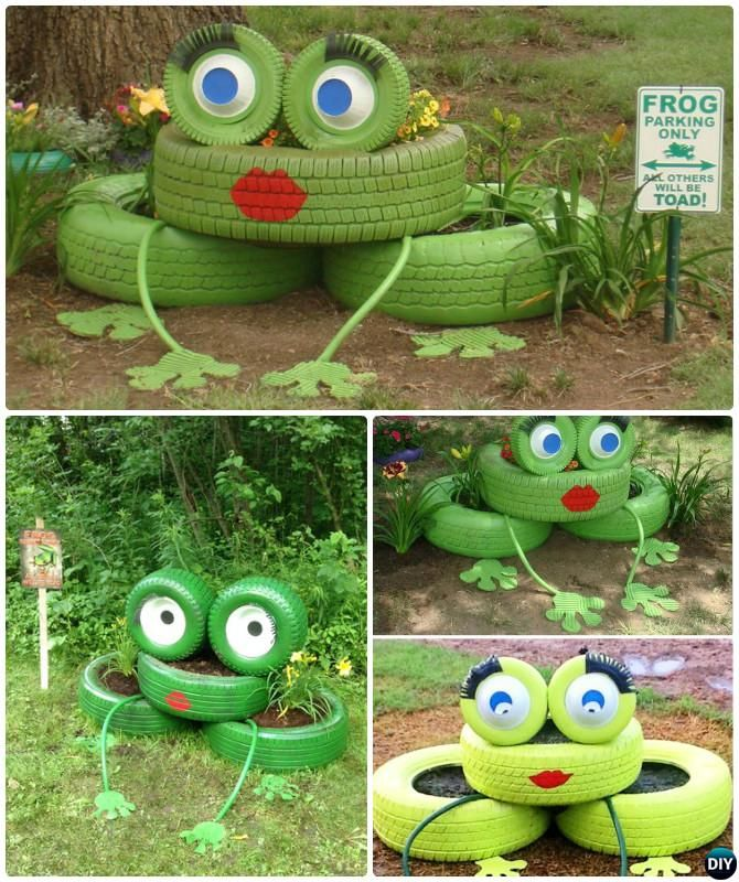 DIY Frog Tire Planter - DIY Tire Planter Ideas #Garden