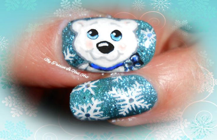 Sweet Xmas White Bear & Snowflakes nails - tutorial nail art orsetto bia...