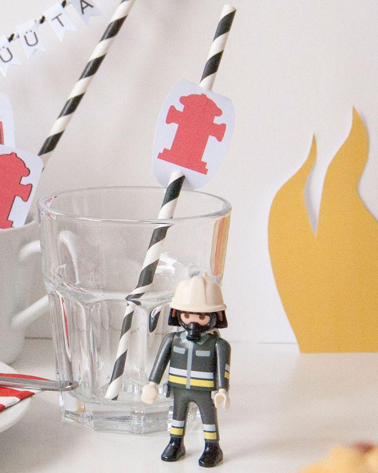 Feuerwehr Geburtstag-Limmaland-Strohhalm-Hydranten