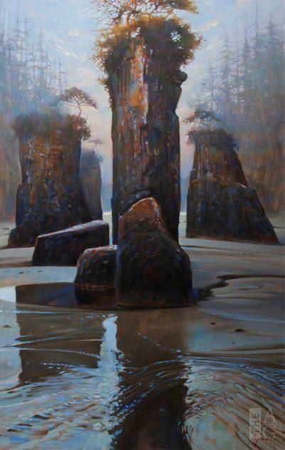 Brent Lynch - Sentinels of San Josef - oil on canvas - 48 x 30