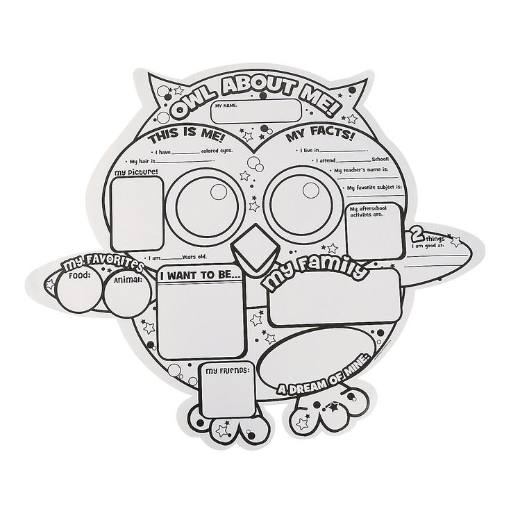 "Color Your Own ""Owl About Me"" Posters - OrientalTrading.com"