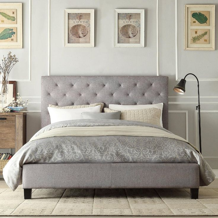 Modern Diamond Gray Button Tufted Upholstered Padded Square Queen Platform Bed with Headboard - Includes Modhaus Living Pen