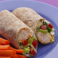 Buffalo Chicken Wrap- Xtra Napkins Required  From: EatingWell  This fiery combo of buffalo chicken in a modern wrap is guaranteed to drip. Get out the big napkins and have a ball! *May substitute precooked grilled chicken breast for a time saver