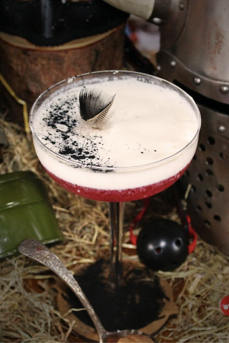 "Three Six Six' ""Like No Other""  Ingredients 40ml Brockmans 10ml Tarragon infused Rhubarb Liqueur 10ml Homemade blueberry cordial 25ml Lemon Juice 5ml Homemade fruit cake syrup 4ml Viagra Tonic 35ml Vanilla yoghurt-foam  Garnished with charcoal powder, pheasant feathers and vanilla yogurt foam."