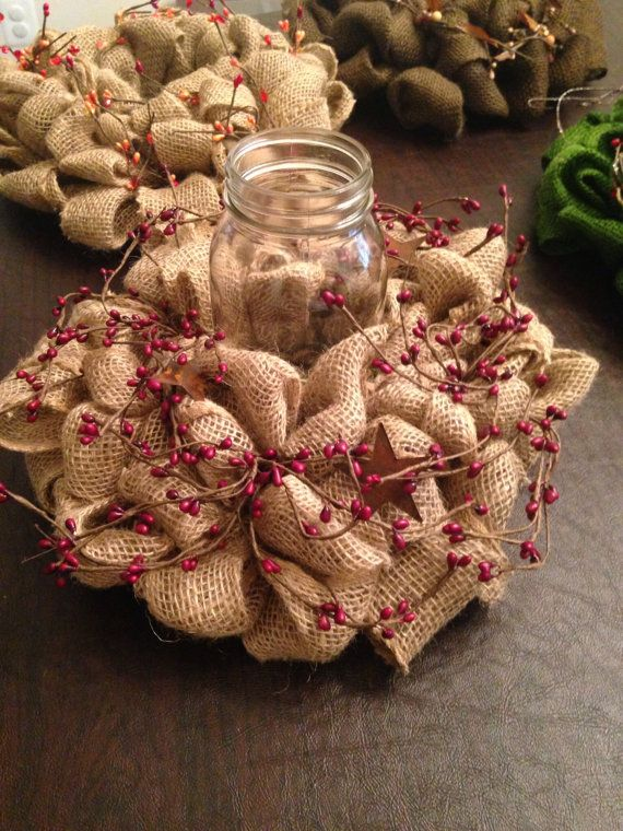 Burlap wreath candle holder by SnowdenWreaths on Etsy, $20.00