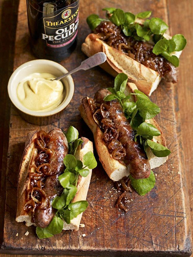 These hot dogs with beery onions from Debbie Major make a perfect TV supper on a Friday night.
