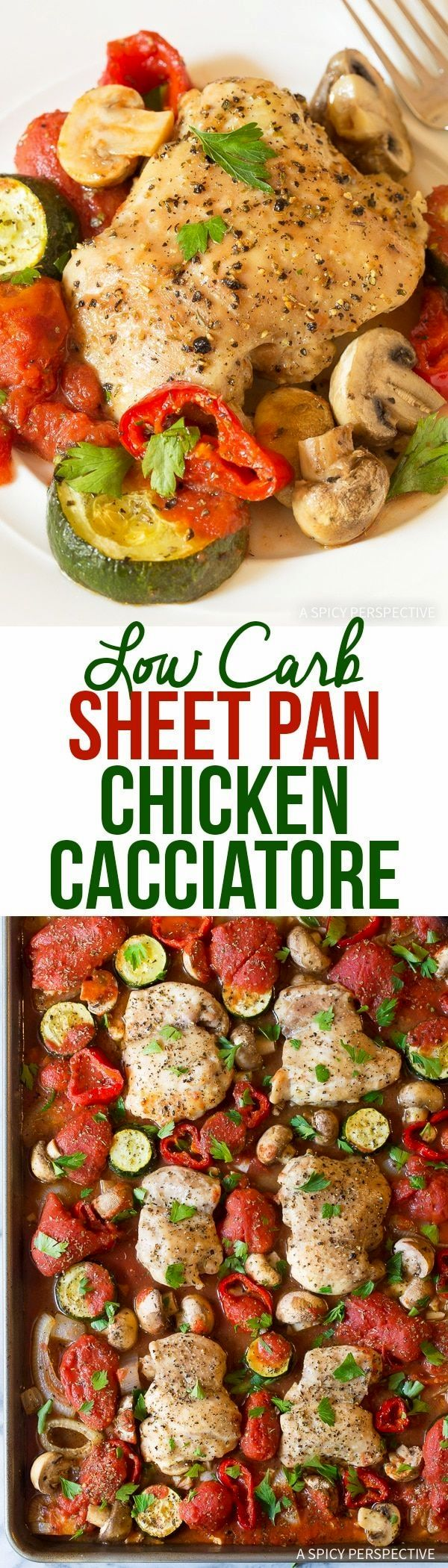 Low Carb Sheet Pan Chicken Cacciatore Recipe - A quick and easy Italian-style cacciatore recipe that is true comfort food, even without the pasta! via @spicyperspectiv