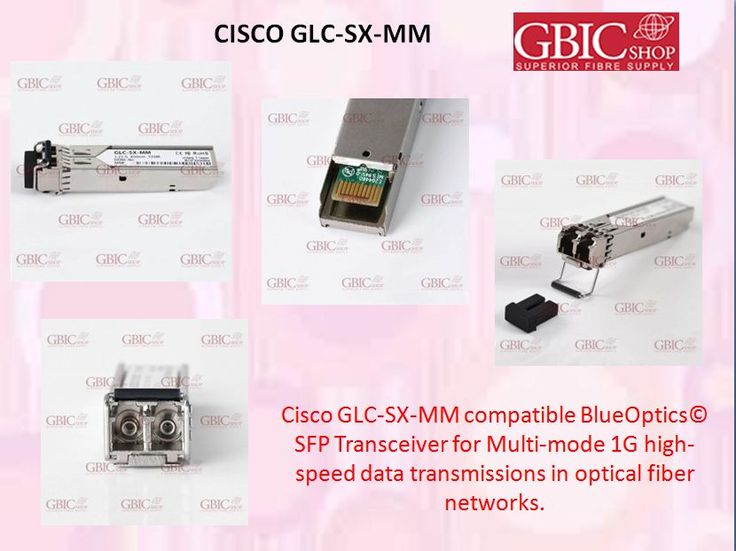 Cisco GLC-SX-MM compatible BlueOptics© SFP Transceiver for Multi-mode 1G high-speed data transmissions in optical fiber networks.   Supports Gigabit Ethernet, Fibre Channel, or SONET/SDH applications in switches, routers, storage systems and other related  hardware.