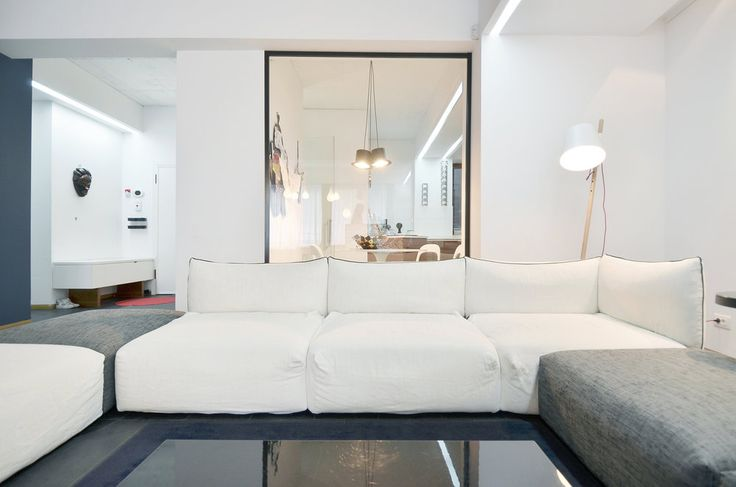 Apartment in Bucharest  - #interior #interiordesign #kitchen #living #lifestyle #housing #residential #white #slate  #urban #architecture #apartment #relax #furniture #custom #shelves #book #booklovers #couch