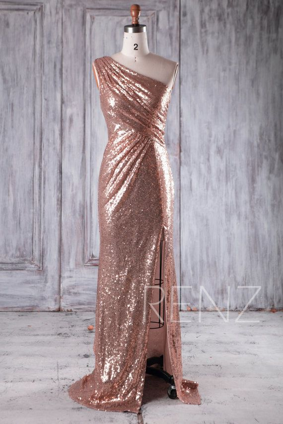 2016 Rose Gold Sequin Bridesmaid Dress Slit One by RenzRags