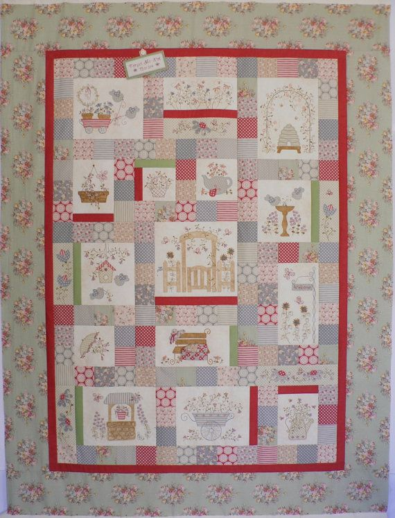 Forget-Me-Not Garden Block of the Month Pattern Set  (No fabrics included)  An abundance of flowers, some birds, a wishing well, a beehive and a