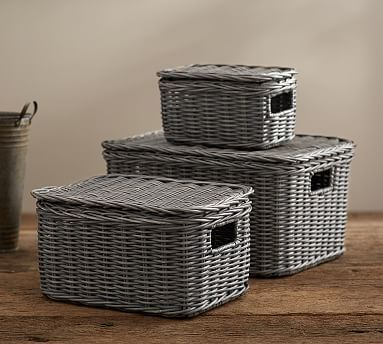 Pottery Barnu0027s Decorative Storage Baskets Keep Clutter Out Of Sight. Find  Woven Trays And Magazine Storage And Keep The Room Neat And Organized.