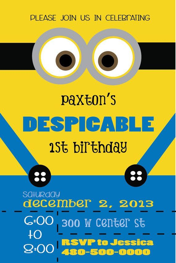 Birthday Invitations : Minion Theme for Birthday Invitation with Modern Style Lettering Quote Design Ideas - Minion Printable Themed For Birthday Party Invitations Card