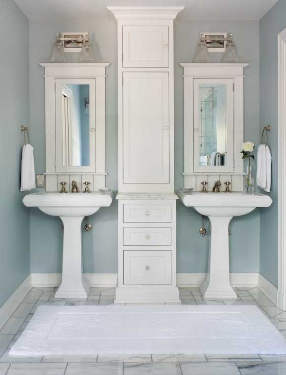 How to get two sinks and storage in a small bathroom