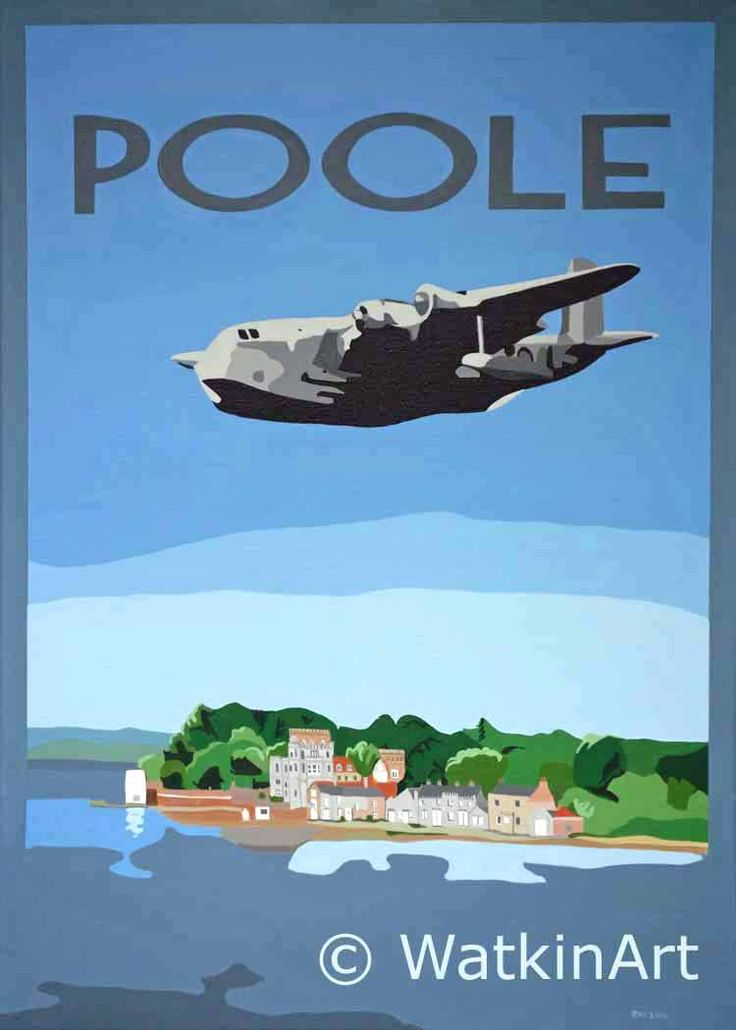 Poole Harbour and Brownsea island with flying boat. Original painting and prints by Richard Watkin. www.watkinart.co.uk