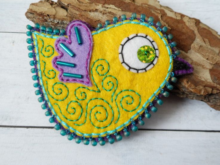 yellow felt brooch, bird brooch, embroidered brooch OOAK Unique Gift for Her handmade gifts Beautiful brooch funny brooch bird jewelry by LolaFUN on Etsy