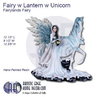 Fairy with Lantern with Unicorn Fairyland Fairy