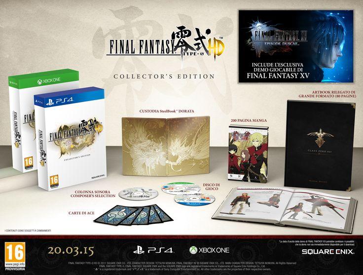 Final Fantasy Type 0 - Collector's Edtion: • Artbook Rilegato (80 pagine) • 200 Pagine Manga • Colonna Sonora • Carte di Ace • Steelbook Dorata • Demo Final Fantasy XV