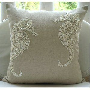 Cotton Linen Pillow Cover w/ Jute & Mother of Pearl Embroidery=sea horses