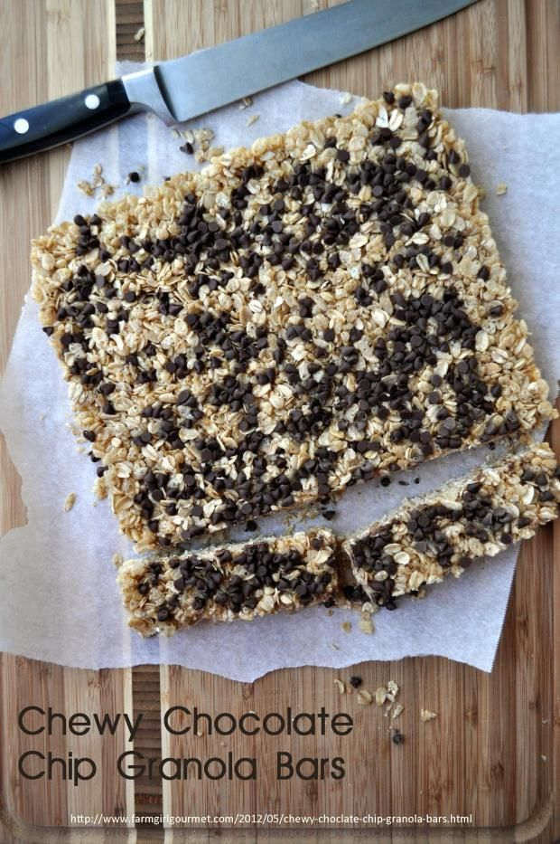 Chewy Chocolate Chip Granola Bars - homemade!! Sounds so easy I can whip up no problem every week!