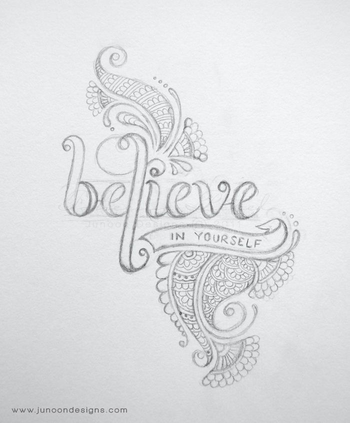 Believe in Yourself by Faheema Patel Hand lettering, typography