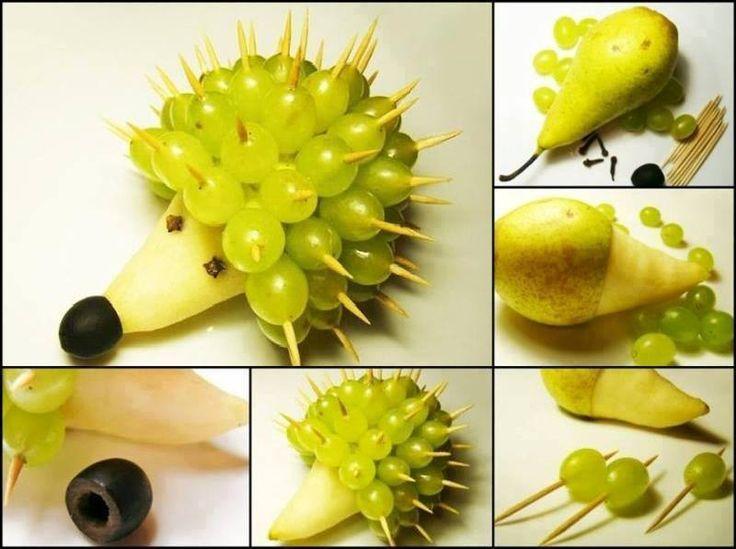 Obst Igel für den Kindergeburtstag Zutaten: Birne, Weintrauben (hell, 1x dunkel), Zahnstocher