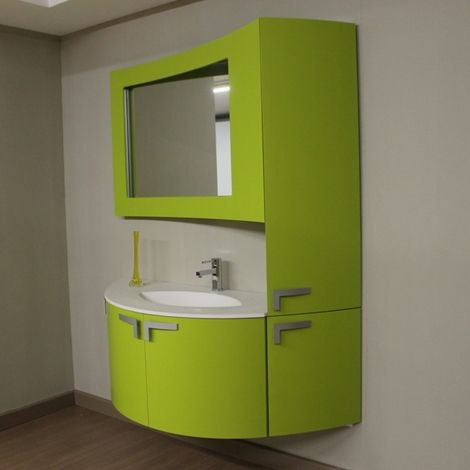 mobile bagno sospeso curvo moderno laccato verde pistacchio lunghezza cm 145 profondit cm