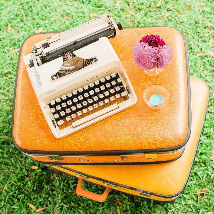 Our retro mustard suitcase and typewriter at a recent Sydney wedding. One of the many items we have for hire at The Vintage Way. Prop hire made easy.