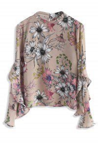 Floral Concerto Chiffon Top in Beige