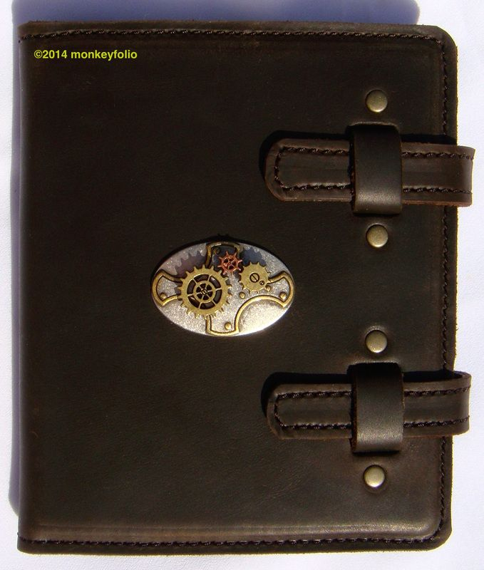 Refillable Leather A6 Folio - Moving Steampunk Gears - Stoned Oil Cowhide