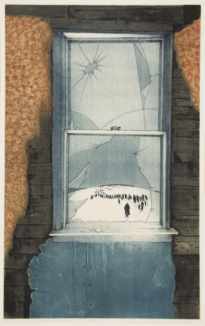 """David Blackwood (1941- ), Canadian / Gram Glover's Dream (1955): The people of Bragg's Island """"going away"""" (1969), etching"""
