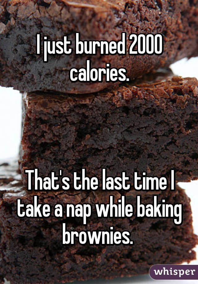 I just burned 2000 calories.    That's the last time I take a nap while baking brownies.