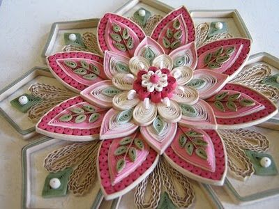 Quilled Pink Flower by Christine Donehue: Pink Flowers, Christine Donehu, Quilling Pink, Things Paper, Paper Flowers, Paper Filigr, Quilling Flowers, Paper Quilling, Flowers Art