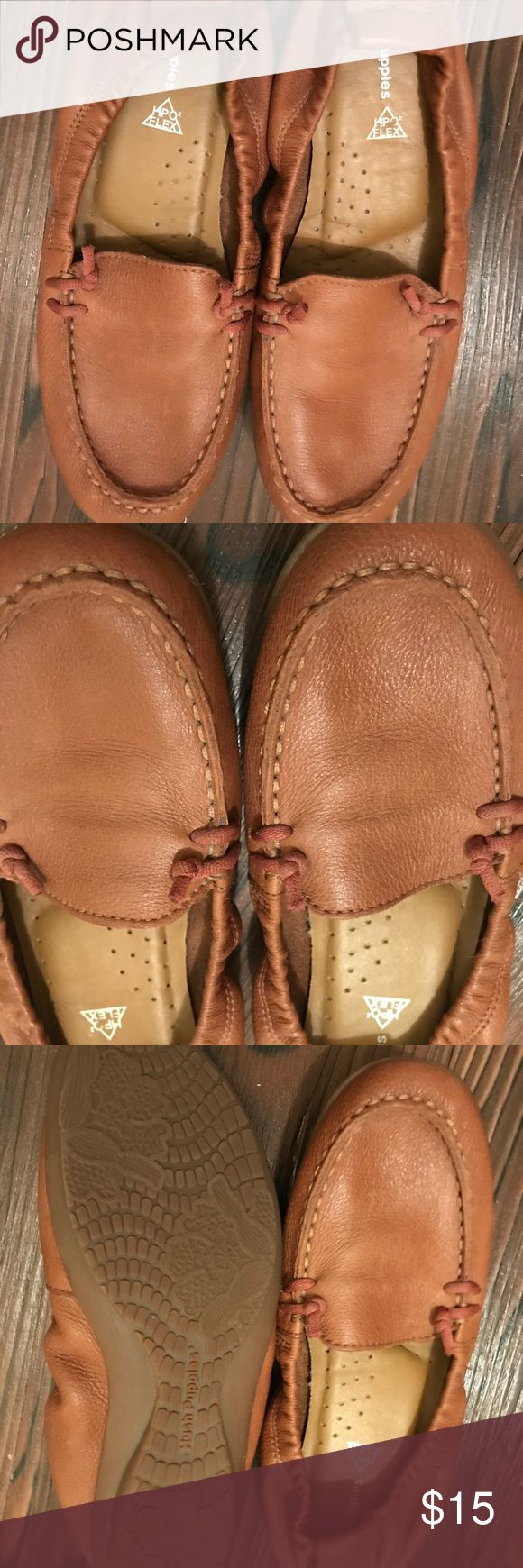 Hush Puppies Brown Tan Loafers - Size 6 These are Hush Puppies brown tan loafers. The back has elastic, making the shoes super flexible. They are also extremely padded and comfortable. They are in good condition. Size 6. Hush Puppies Shoes Flats & Loafers