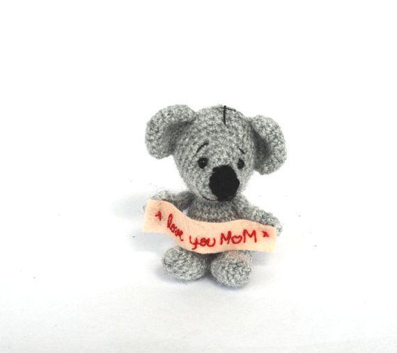 $34.34 Mother's day gift, #LOVEYOU MOM, crochet koala as gift for mom, koala bear, #amigurumi #koala, mom gift, housewarming miniature for parents, handmade doll by crochAndi