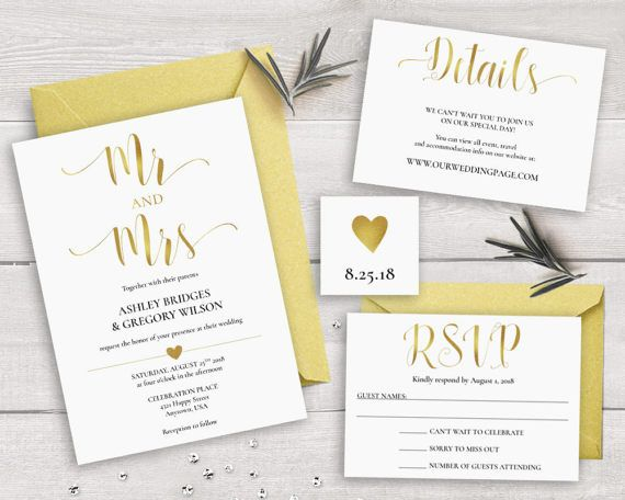 Gold Wedding Invitation Suite Template, Printable Wedding Invitation Set Mr  And Mrs Wedding Invitations Caligraphy Invites, Gold Invitation