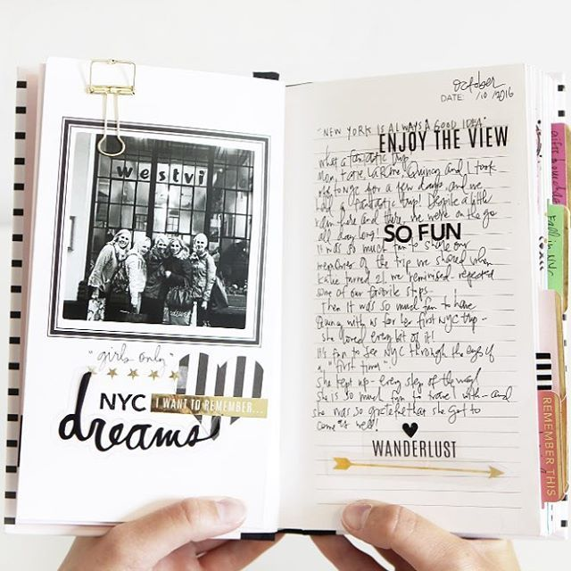 "This is one of my most favorite albums ever! I guess I just love how one photo can spark an entire story! This is the inside of one of my NEW ""photo journals"" ❤️ my mom, sisters, Quincy and I visited NYC last fall... The book holds 25 of my favorites ...the funny, touching, memorable moments from the trip! of course I can't resist a little embellishment I'll be sharing more details in an upcoming blog post... go watch the ""overview"" #youtube video (link in profile) to see all the..."