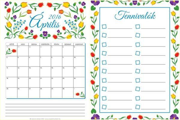 Ingyenes áprilisi nyomtathatók: falinaptár színezhető változatban is, tennivalólista, családi tervező