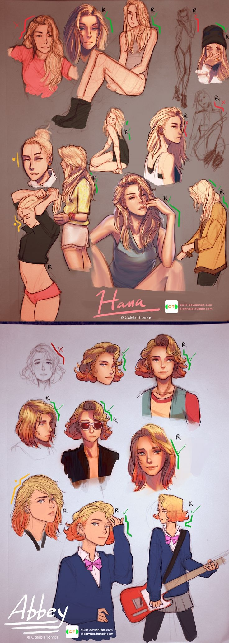 Hana and Abbey sketches by dCTb.deviantart.com on @deviantART