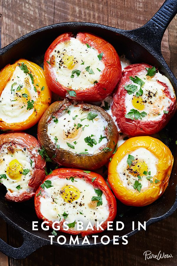 Eggs Baked in Tomatoes via @PureWow