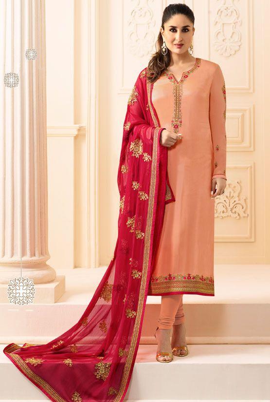 Kareena Kapoor Peach Churidar Kameez