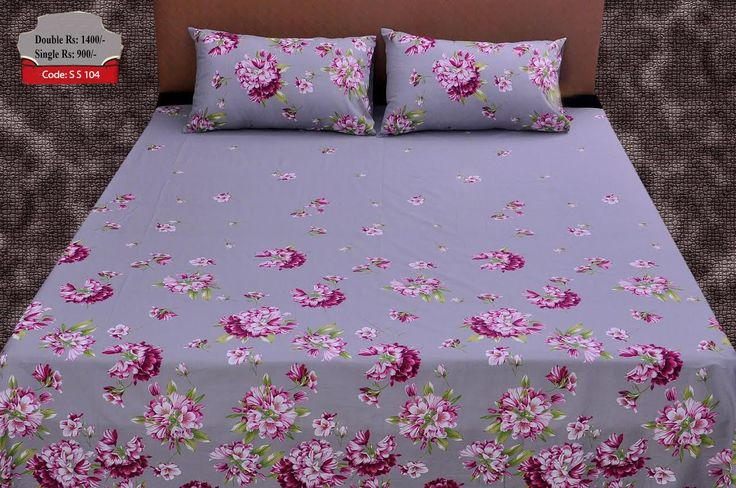 Code: S S 104Pure Cotton Bed SheetsBed Sheet Size 96x100 Inches.Two Pillow  Covers 19x29