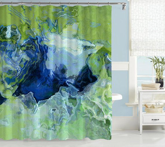 Abstract art shower curtain, contemporary bathroom decor, green and blue shower curtain, contemporary shower curtain, Ocean View