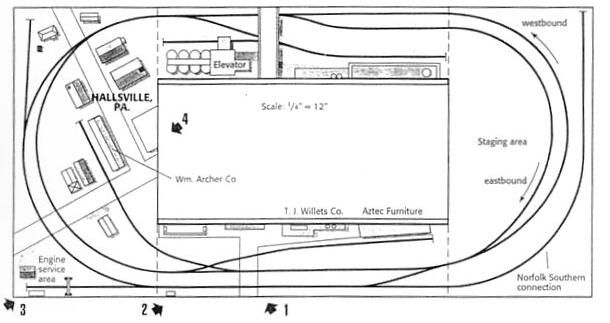 conrail in hallsville  pa  an ho layout plan