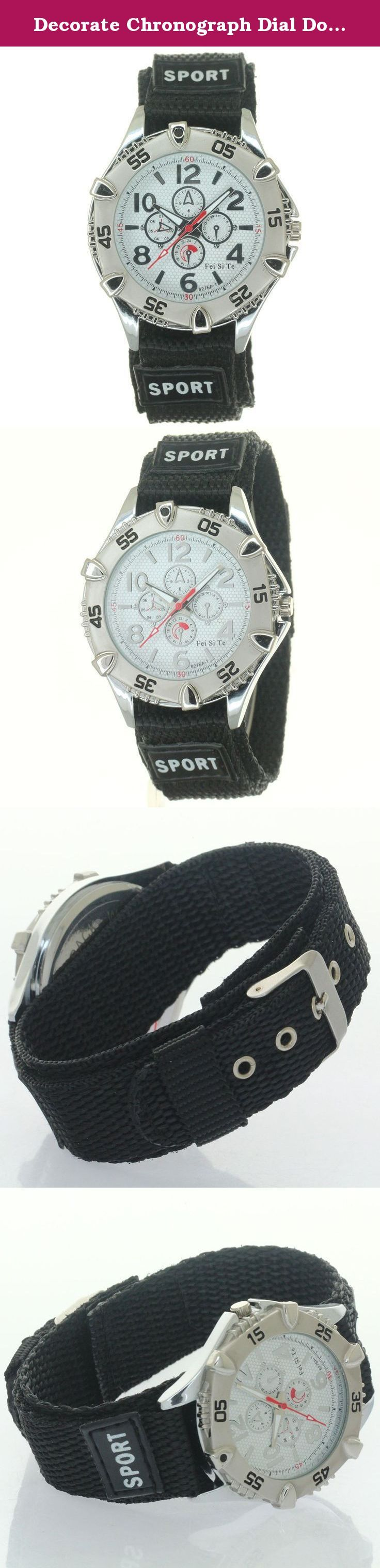 Decorate Chronograph Dial Double Layer Nylon Fabric Strap Band Velcro Buckle Sport Quartz Wristwatch. Decorate Chronograph Dial Double Layer Nylon Fabric Strap Band Velcro Buckle Sport Quartz Wristwatch Double Layer Nylon Watch Strap Velcro Fastener Polished Buckle Functional uni-direction bezel crown Decorate Chronograph Numeral Dial Japan Precision Movement Inside. Quartz Wristwatch. Short straps not fit strong big wrists. Men Women Boys Girls Kids Students all Fits.