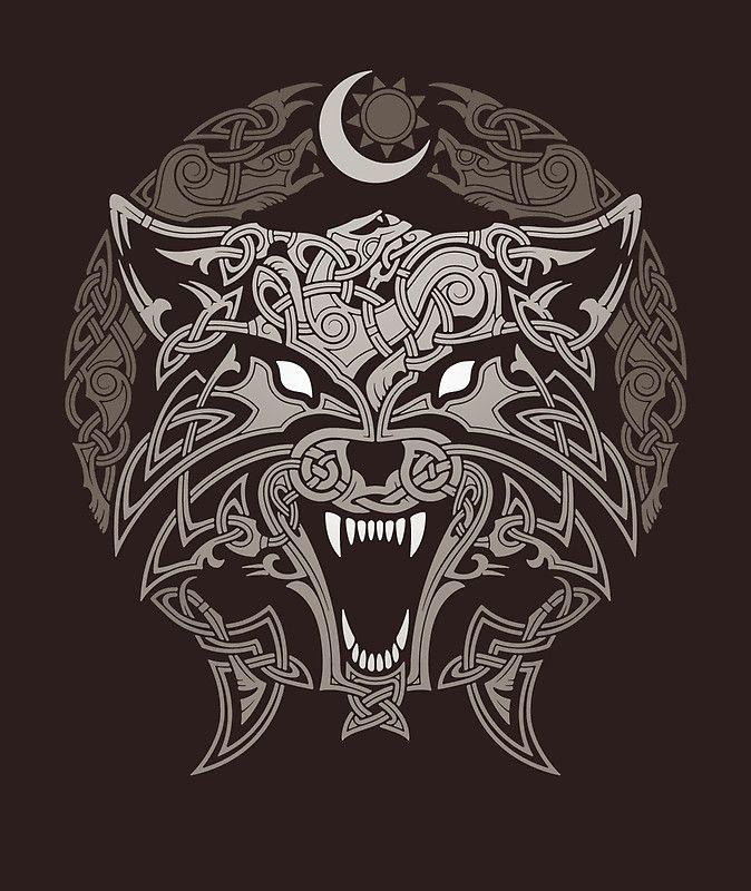 Loups Fenrir, Skol et Hati. • Buy this artwork on apparel, stickers, phone cases et more.