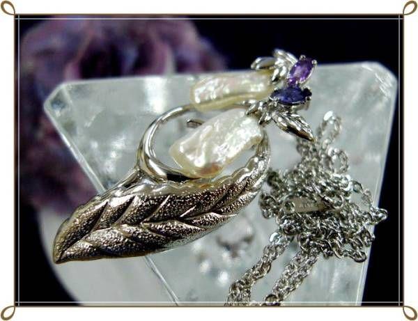 ◆艶やかバロック真珠 アメジストsilverネックレス◆ハP2266◆_画像1